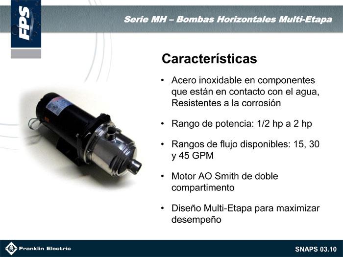 Bombas centrifugas multipasos horizontales franklin for Ao smith motor catalog